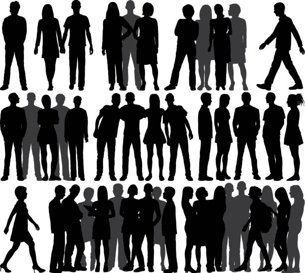 groups (all people are complete and moveable) - standing stock illustrations