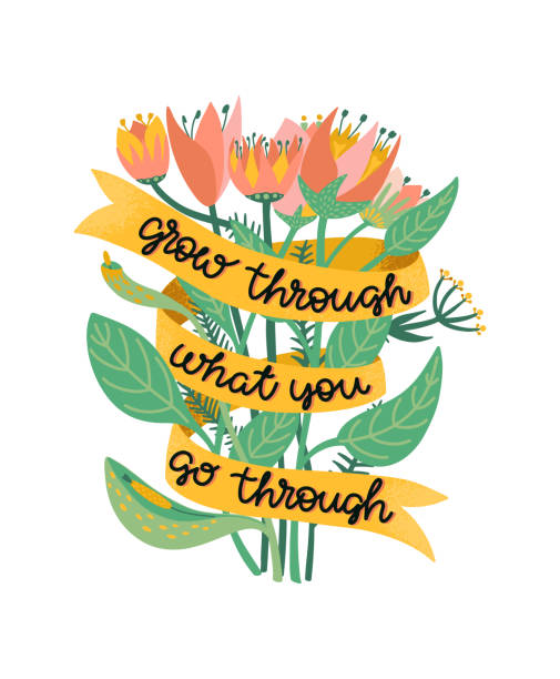 Grow through what you go through. Supportive motivational quote illustrated with a bouquet of wild flowers. Metaphor of recovering from depression, anxiety or burnout. Colorful illustration with positive script lettering. Vector. Grow through what you go through. Supportive and motivational quote illustrated with a bouquet of wild flowers. Metaphor of recovering from depression, anxiety or burnout. Colorful illustration with positive script lettering. Template for postcard, banner, poster, leaflet, support groups, mental health institution, psychologist, psychotherapist. Bright floral elements. Vector. stimulus stock illustrations
