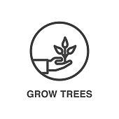 Grow trees line art icon.