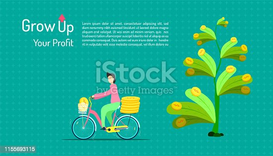 grow up your profit. a human ride a bicycle for keeping percentage from tree passive income business marketing. invest together. vector illustration eps10