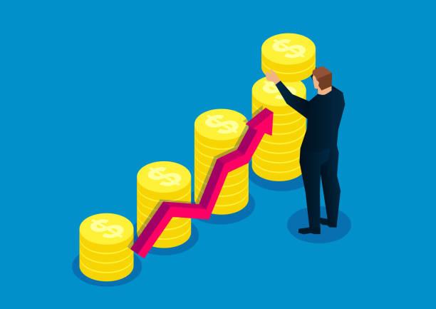 成長するビジネス、金貨スタックの高さを高める、成功したビジネスマン - 投資家点のイラスト素材/クリップアート素材/マンガ素材/アイコン素材