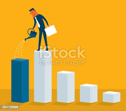 Successful businessman with a growing chart