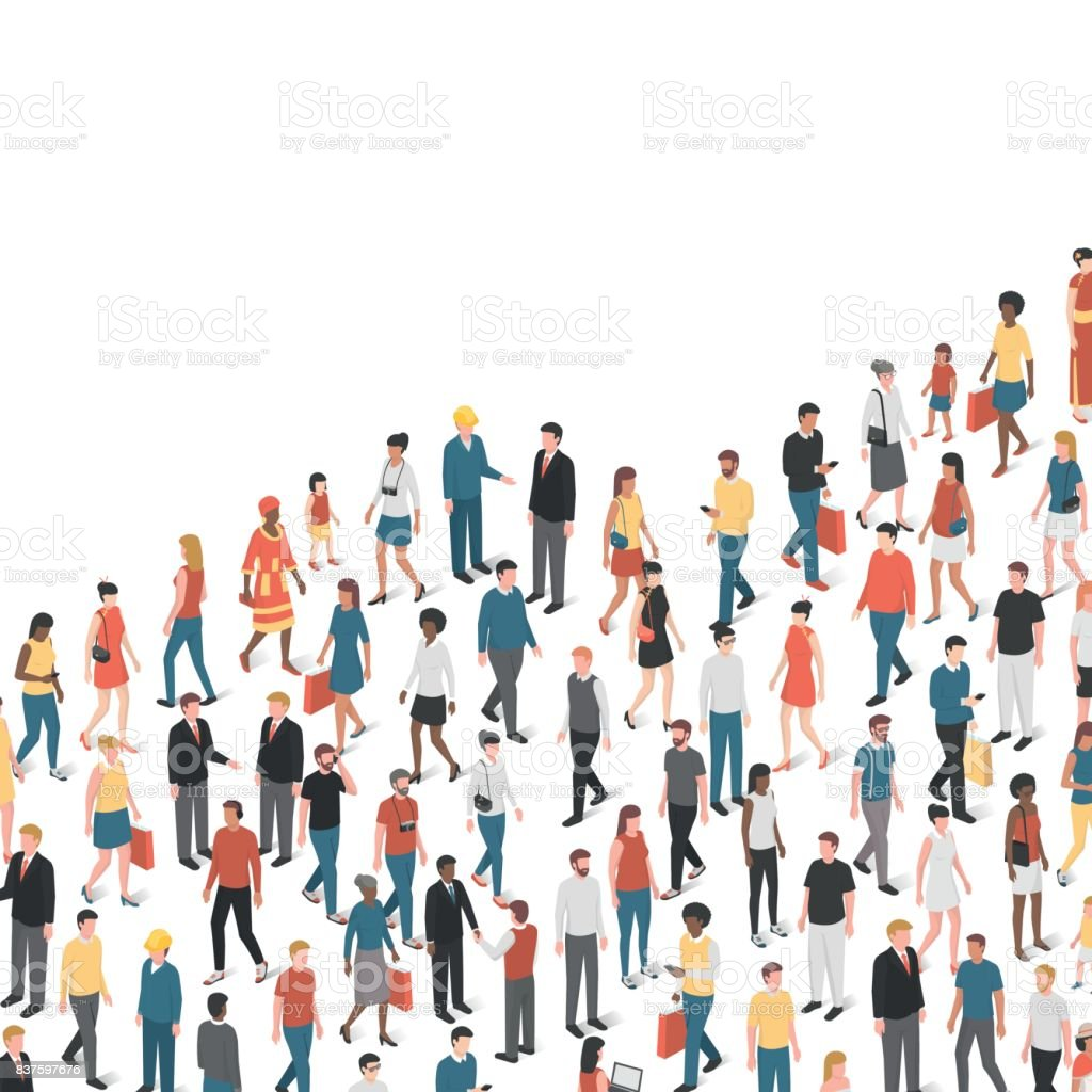 Growing chart composed of people vector art illustration