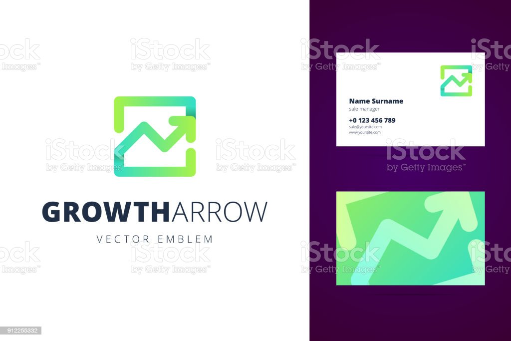 Growing chart emblem and business card template. vector art illustration