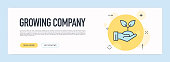 Growing Company Concept - Flat Line Web Banner