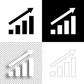 istock Growing graph. Icon for design. Blank, white and black backgrounds - Line icon 1295839444