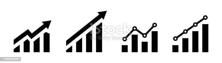 istock Growing graph icon. Vector isolated element. Growing char with arrow. Profit line progress sign. Stock vector. 1253533391
