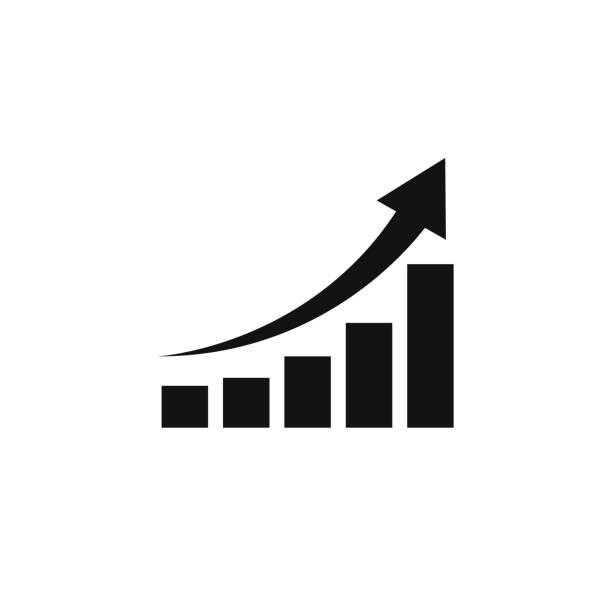 wachsende grafik-symbol, vektor isoliert flachen stil symbol - heben stock-grafiken, -clipart, -cartoons und -symbole