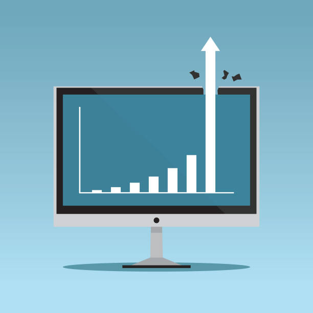 Growing graph on monitor Technology, Sale, Chart, Computer, Computer Monitor sales occupation stock illustrations