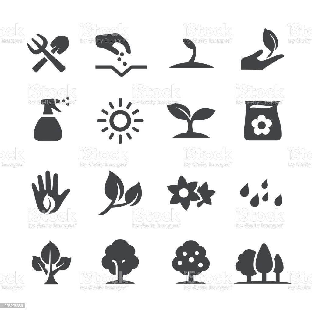 Creciendo los iconos - serie Acme - ilustración de arte vectorial