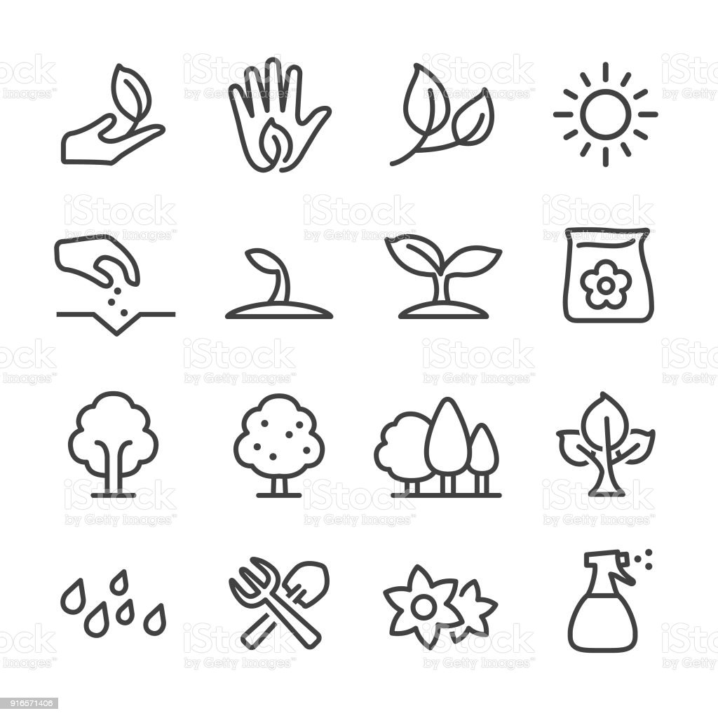 Growing Icons - Line Series vector art illustration