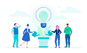 Growing ideas - flat design style illustration on white background. Metaphorical composition with international business team watering the plant, big lightbulb, louds. Creativity and team work concept