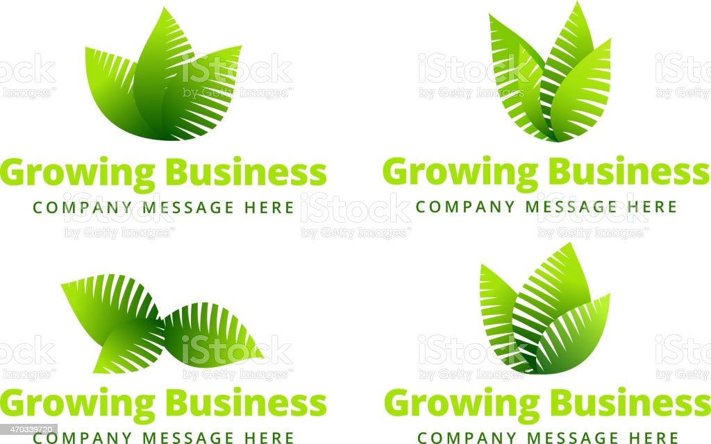 Growing Leaf logo vector art illustration