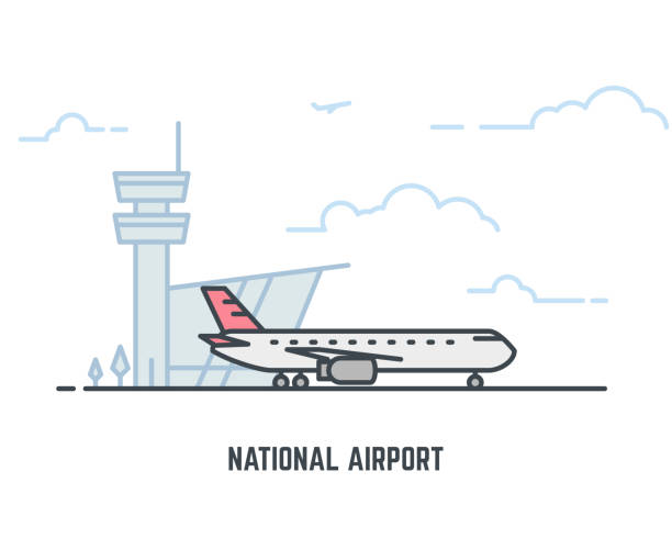 Growing line tomatos National airport line illustration. Big passenger airplane and airport building with tower on background. Sky with clouds. Linear modern, trendy vector banner. airport stock illustrations