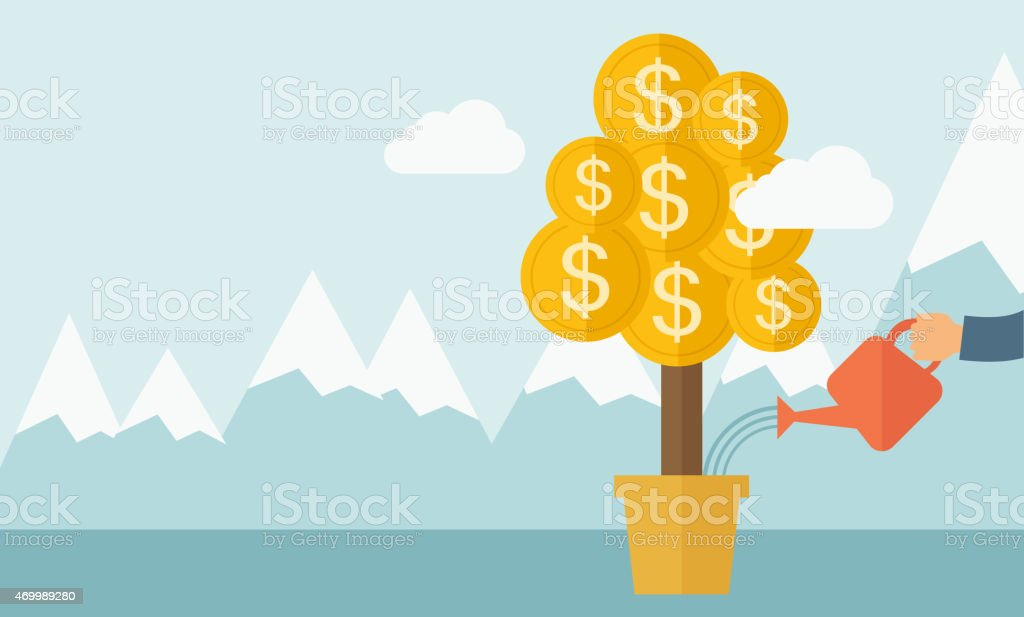 A human hand watering money dollar coin tree to grow bigger....