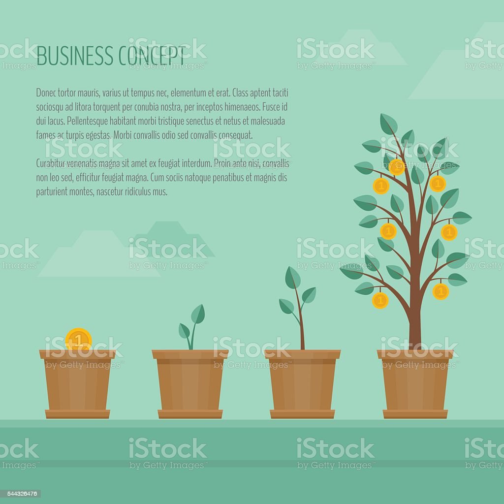 Growing money tree. Business concept. vector art illustration