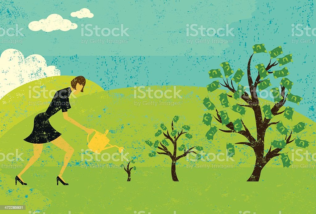growing money trees royalty-free stock vector art