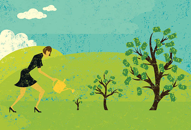 growing money trees A businesswoman watering money trees over an abstract landscape background. The woman and trees are on a separate layer from the background. money tree stock illustrations