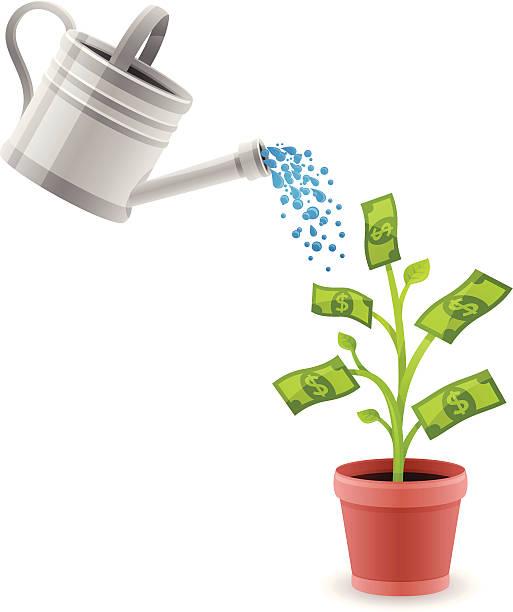 Growing Money Growing money concept illustration. money tree stock illustrations