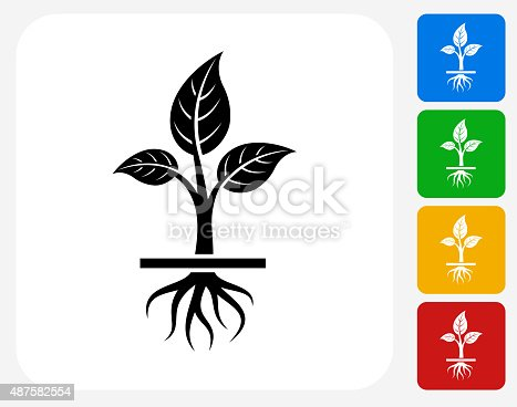 Growing Plant Icon. This 100% royalty free vector illustration features the main icon pictured in black inside a white square. The alternative color options in blue, green, yellow and red are on the right of the icon and are arranged in a vertical column.