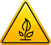 Growing Plant with Leaves Icon. This 100% royalty free vector illustration is featuring a yellow triangle button with rounded corners. The surface of the button is shiny and has a light effect on top. The main icon is depicted in black. There also a thin black outline around the edges of the triangle.