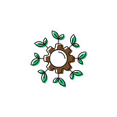 Growing plants technology concept vector icon illustration design isolated on white