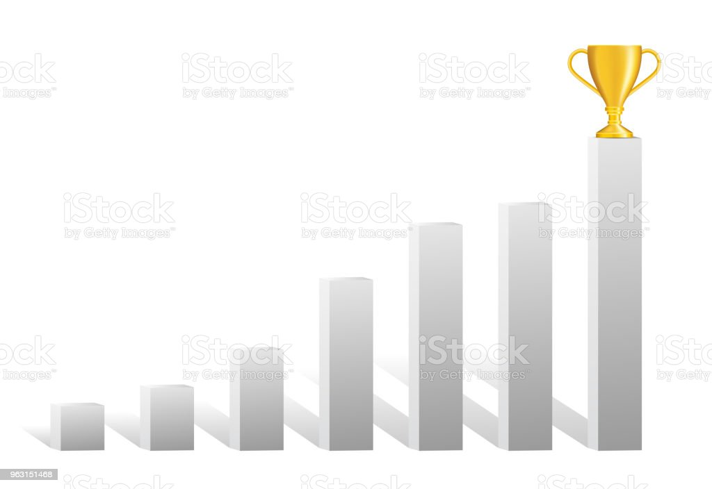 Growing realistic shaded grey bar chart with golden trophy on top of last bar. vector art illustration