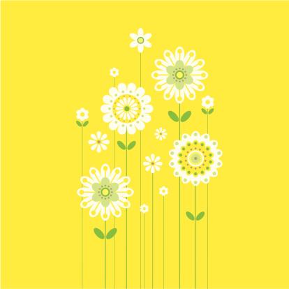Growing Retro Spring Flowers on Yellow