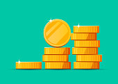Growing stack of golden dollar coins background. Economics concept. Vector illustration
