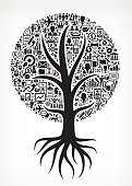 Growing Tree with Black and White Business Icons