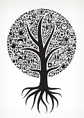 Growing Tree with Black and White Family Icons