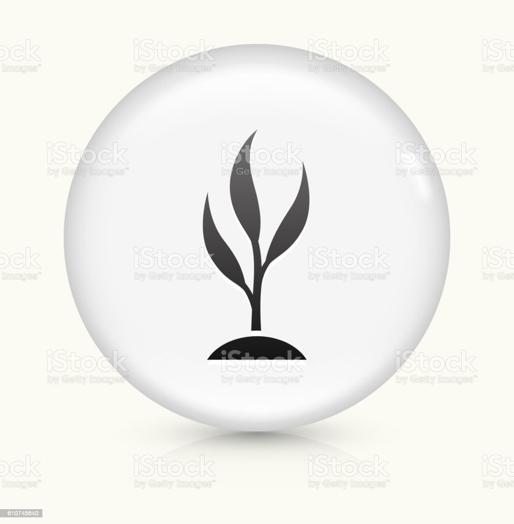 Growing Tree icon on white round vector button vector art illustration