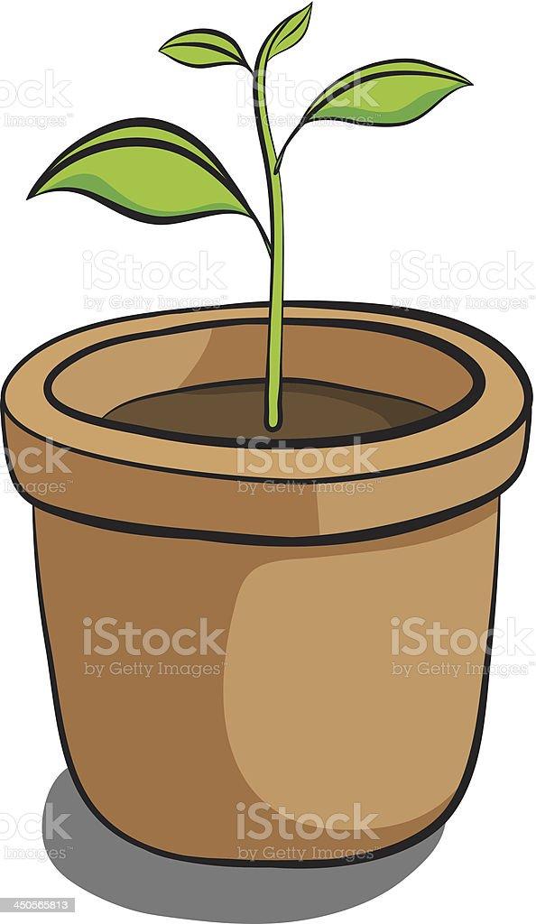 growing tree in pot royalty-free stock vector art
