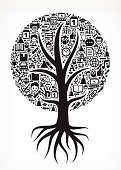 Growing Tree with Black and White School Icons