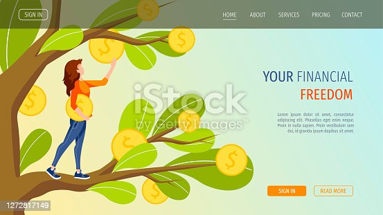 Growing tree with coins and woman picking cash from the money tree. Profit, income, making money, financial success, investment concept. Vector illustration for banner, poster, website.