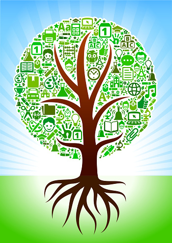 Growing Tree with Green school royalty free vector arts