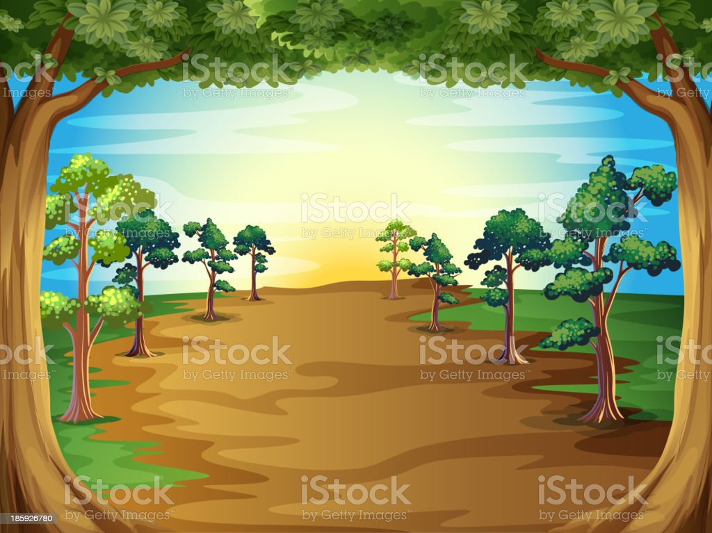 Growing trees at the forest royalty-free growing trees at the forest stock vector art & more images of blue
