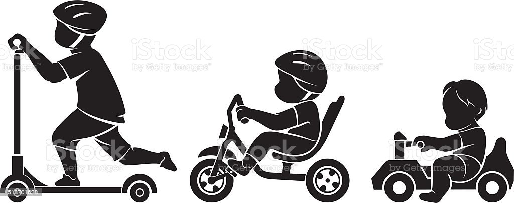 Growing up kids rides vector art illustration