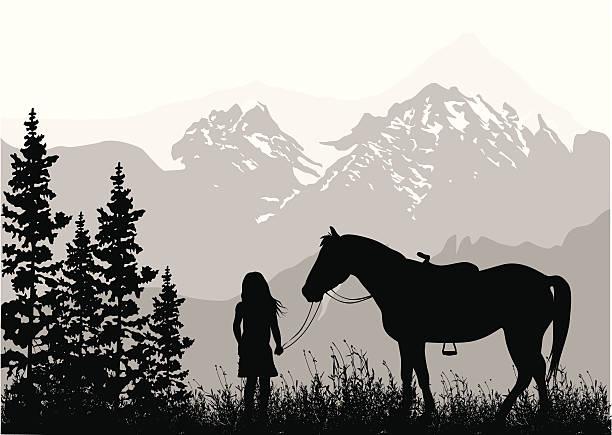 stockillustraties, clipart, cartoons en iconen met growing up vector silhouette - alleen één meisje