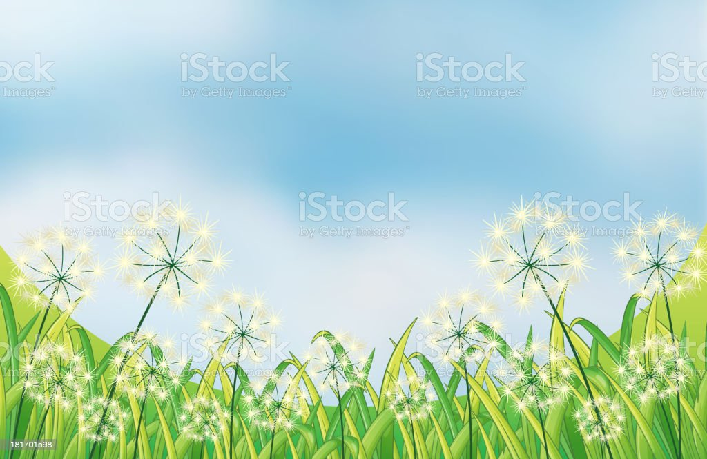 Growing weeds under the blue sky royalty-free stock vector art