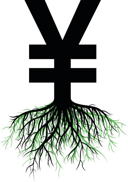Growing Yen or Yuan Growing Yen or Yuan concept. taiwanese currency stock illustrations