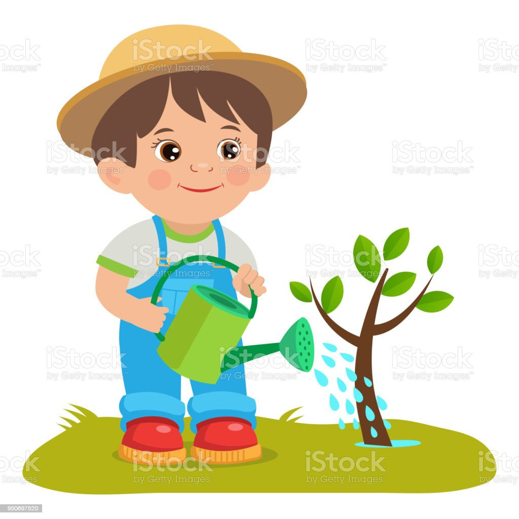 Growing Young Gardener Cute Cartoon Boy With Watering Can ...