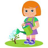 Growing Young Gardener. Cute Cartoon Girl With Watering Can. Young Farmer Working In The Garden. Garden Watering. Cartoon Vector Illustration.