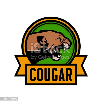 Cougar vector emblem. Growling puma head on emblem with place for text