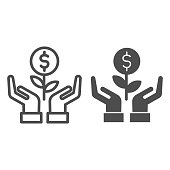 istock Grows plant in care hands line and solid icon. Money holding flower symbol, outline style pictogram on white background. Dollar sign for mobile concept and web design. Vector graphics. 1211385278