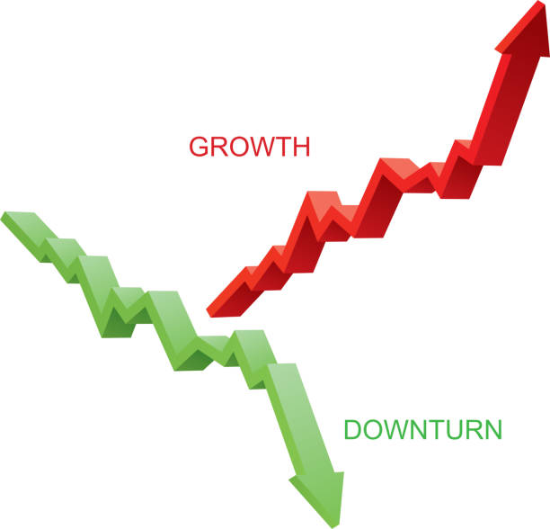 Wachstum und Rückgang Pfeile – Vektorgrafik