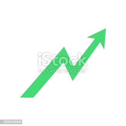 istock Growth arrow icon. Green arrow up. 1300548408