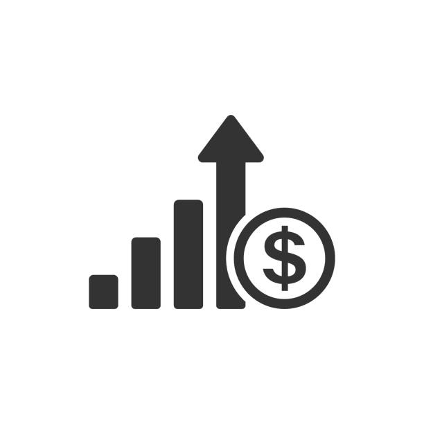 Growth arrow icon in flat style. Revenue vector illustration on white isolated background. Increase business concept. Growth arrow icon in flat style. Revenue vector illustration on white isolated background. Increase business concept. high up stock illustrations