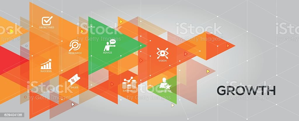 Growth banner and icons vector art illustration