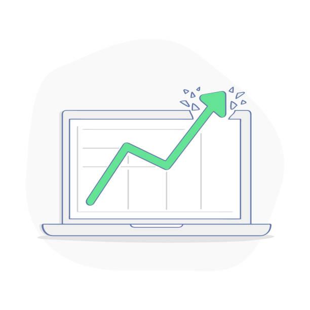 wachstums-chart, diagramm, diagramm für erfolgreiche mission, unglaubliche finanzielles wachstum - vektor-illustration - messlatte stock-grafiken, -clipart, -cartoons und -symbole